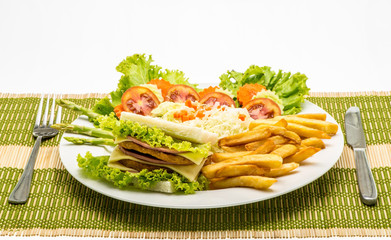 chicken sandwich on a white plate with french fries.
