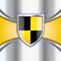 Glossy black and yellow shield