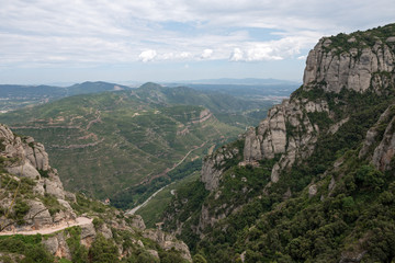 Panoramic view of Llobregat river valley from Montserrat Abbey,
