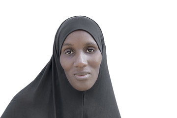 African woman wearing a black cotton veil, isolated