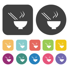 Noodles and chopsticks symbol icons set. Round and rectangle col