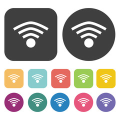 Wireless sign icons set. Cafe and restaurant symbol. Round and r