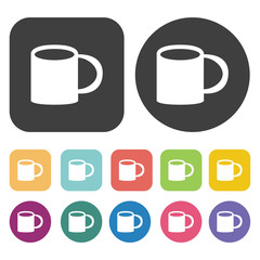Coffee cup icons set. Round and rectangle colourful 12 buttons.