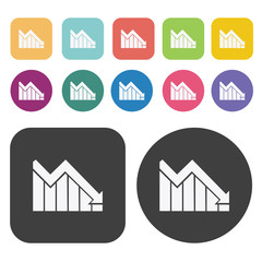 Business declining bar graph icon set. Finance and business symb