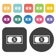 Money sign icon set. Finance and business symbol. Round and rect