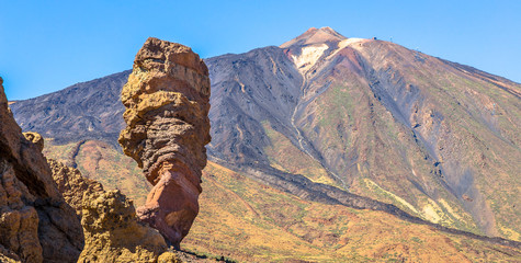 Rock formation called Roque Cinchado and the Teide volcano