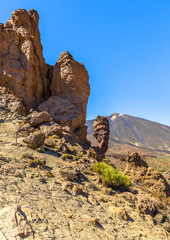 Roques de Garcia rock formation and Teide volcano, in Tenerife