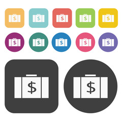 Money bag icon set. Finance and business symbol. Round and recta