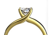 Wedding ring with diamond on white background. Sign of love - 68632069