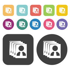 Resume CV icon set. Round and rectangle colourful 12 buttons.