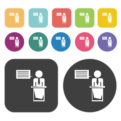 Business Meeting icons set. business symbol. Round and rectangle
