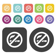 No smoking area zone sign icon set. Round and rectangle colourfu