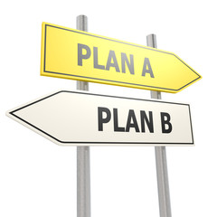 Plan A B road sign