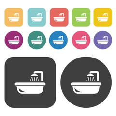 Bathtub icon set. Round and rectangle colourful 12 buttons.