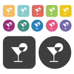 Cocktail icons set. Round and rectangle colourful 12 buttons.