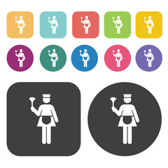 Waitress icon set. Round and rectangle colourful 12 buttons.