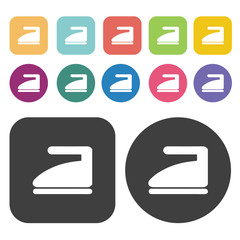 Steam iron icon set. Round and rectangle colourful 12 buttons.