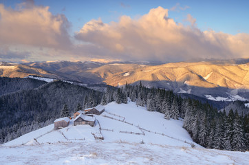Mountain village in the winter