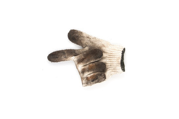 Used gloves with white background