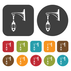 Street Lights Lamp icon set. Round and rectangle colourful 12 bu