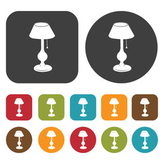 Table lamp, interior lamp, decoration icon set. Round and rectan