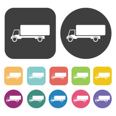 Box Truck icons set. Round and rectangle colourful 12 buttons.