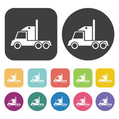 Truck icons set. Round and rectangle colourful 12 buttons.