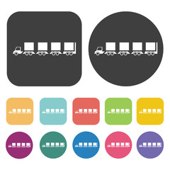 Flatbed truck icons set. Round and rectangle colourful 12 button