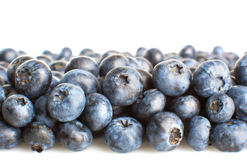 Blueberries close-up isolated on white background