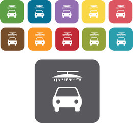 Car wash icons set. Rectangle colourful 12 buttons. Illustration