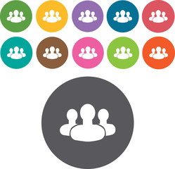 business meeting icons set. Round and rectangle colourful 12 but