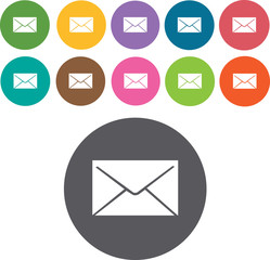 Email icons set. Round colourful 12 buttons. Illustration eps10