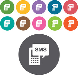 SMS Phone. Communication and information icon set. Round colourf