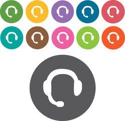 headphones icons set. Round colourful 12 buttons. Illustration e