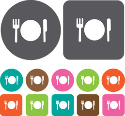 Plate,fork and knife icons set. Round and rectangle colourful 12
