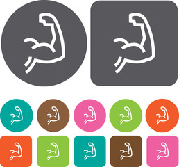Muscle icon. Health and Fitness icons set. Round and rectangle c