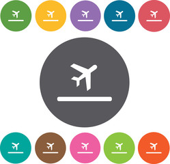 Airplane Hotel icons set. Round colourful 12 buttons. Illustrati