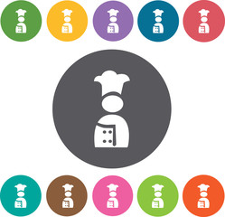 Chef icon. Hotel icons set. Round colourful 12 buttons. Illustra