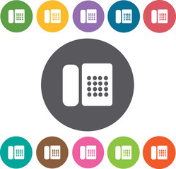 Telephone Hotel icons set. Round colourful 12 buttons. Illustrat