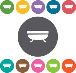 Bath Tub icon. Hotel icons set. Round colourful 12 buttons. Illu