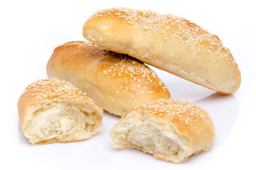Sesame buns whole and broken