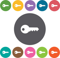 Key icon. Hotel icons set. Round colourful 12 buttons. Illustrat