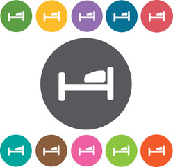 Bed Hotel icons set. Round colourful 12 buttons. Illustration ep