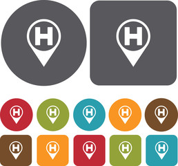 Home Map Location Icons set. Round and rectangle colourful 12 bu