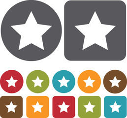 Star Map Location Icons set. Round and rectangle colourful 12 bu