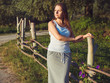 Brunette girl outdoors summer day