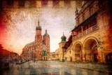Rynek główny w Krakowie w stylu retro - 68634292