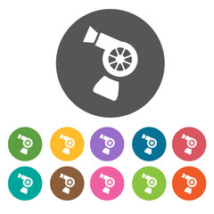 Hair dryers icons set. Round colourful 12 buttons. Illustration