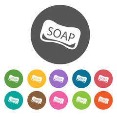 Soap icons set. Round colourful 12 buttons. Illustration eps10