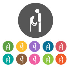 Male toilet sign icon set. Round colourful 12 buttons. Illustrat